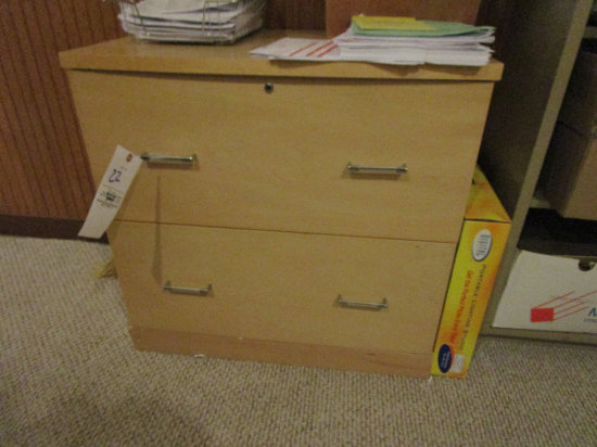 Wood 2 drawer lateral file cabinet