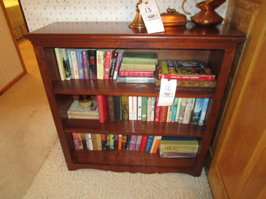 3 Shelf Cherry Bookcase with books