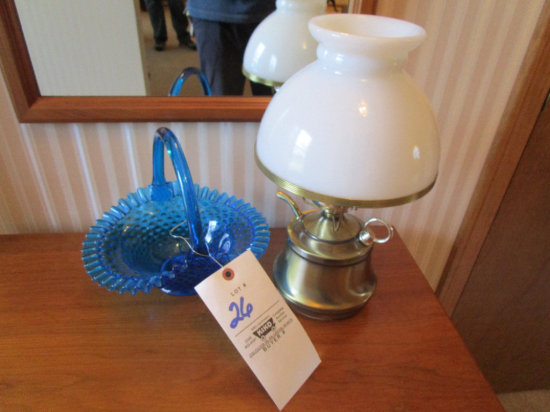 Table lamp and Blue hob-nail basket