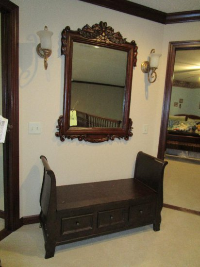 Hallway bench with wall mirror