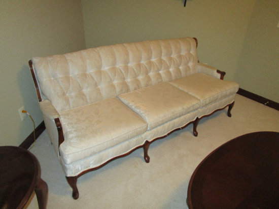 Tufted back 3 cushion sofa and matching chair