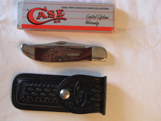 Case XX 6265 Folding Hunter knife serated blade w/box and sheath