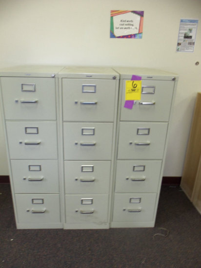 3 Four drawer metal filing cabinets (nice shape)