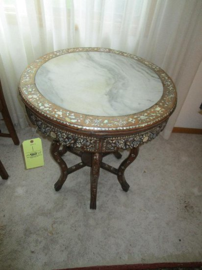 Round Top Marble Insert Table with Mother of Pearl Inlay