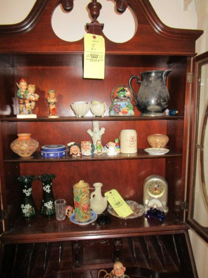 Hummels, Royal Dalton Toby Mugs, glass frogs, wedgewood covered dish, assorted glassware's