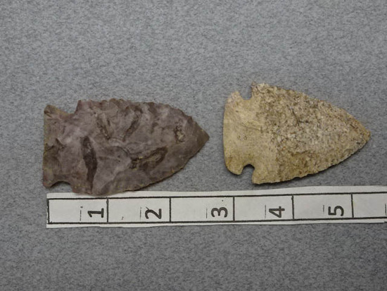 Two Archaic Points - 2 1/2 & 2 3/4 in. - Chert
