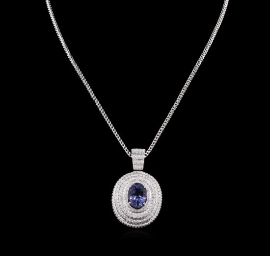 9.50 ctw Tanzanite and Diamond Pendant With Chain - 14KT White Gold