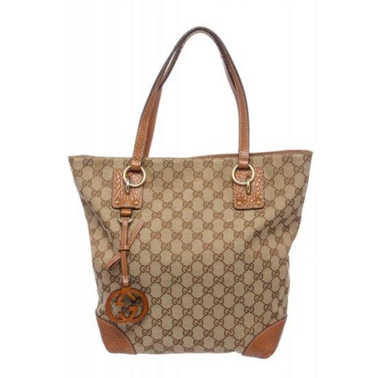 Gucci Beige Brown Monogram Leather Shoulder Bag