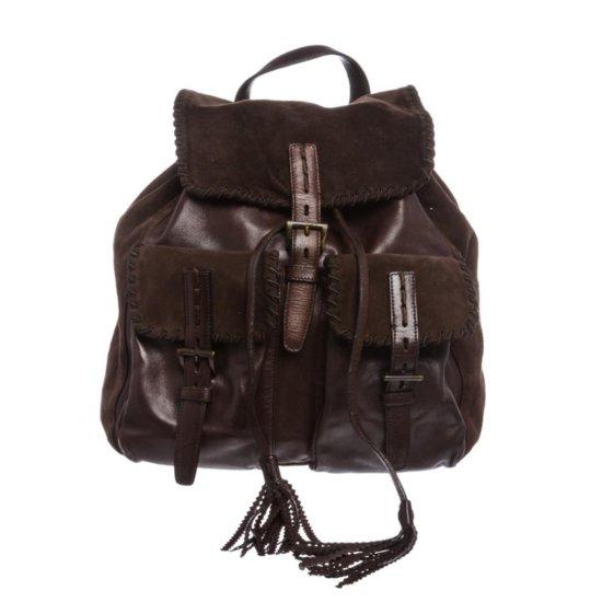 Prada Brown Suede Leather Drawstring Backpack