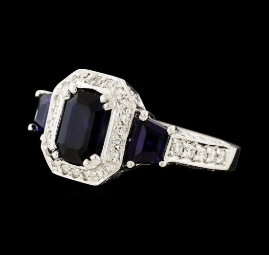2.73 ctw Sapphire and Diamond Ring - 14KT White Gold