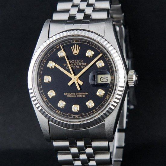Rolex Stainless Steel Black Diamond DateJust Men's Watch