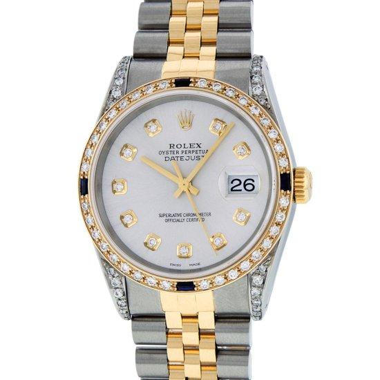 Rolex Mens Two Tone Diamond Lugs Silver Diamond and Sapphire Datejust Wristwatch