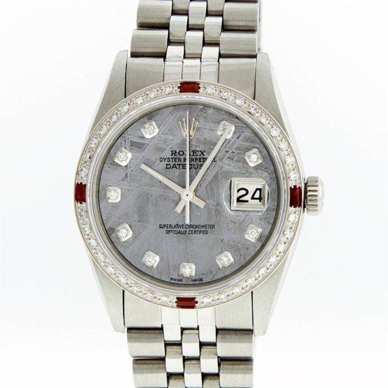 Rolex Mens Stainless Steel Meteorite Diamond Ruby Datejust Wristwatch