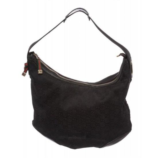 Gucci Black Monogram Canvas Leather Shoulder Bag