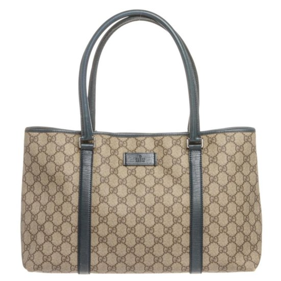 Gucci Beige Coated Canvas Monogram Turquoise Trim Tote Bag