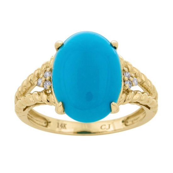 4.14 ctw Turquoise and Diamond Ring - 14KT Yellow Gold