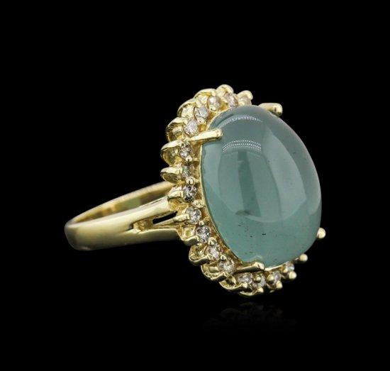 14KT Yellow Gold 13.35 ctw Aquamarine and Diamond Ring