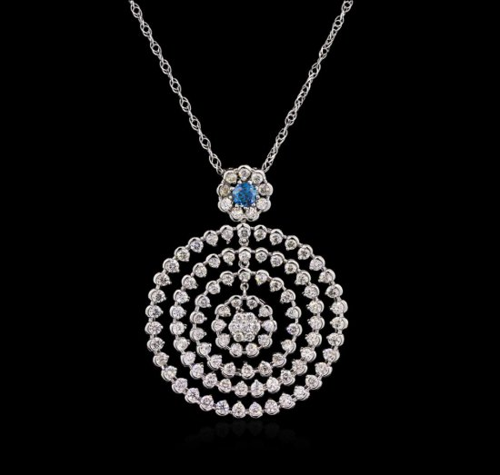 5.32 ctw Diamond Pendant With Chain - 14KT White Gold