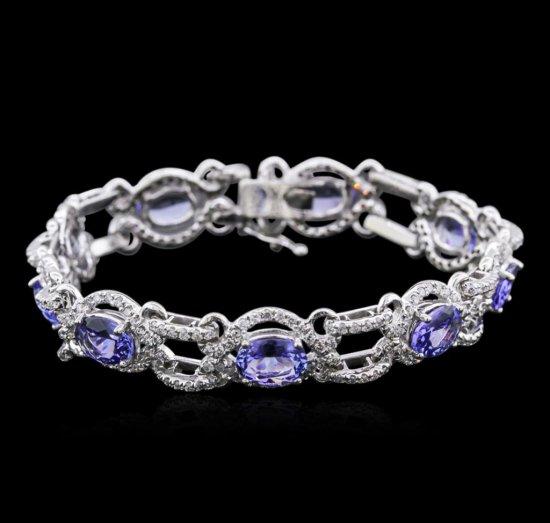 14KT White Gold 9.85 ctw Tanzanite and Diamond Bracelet