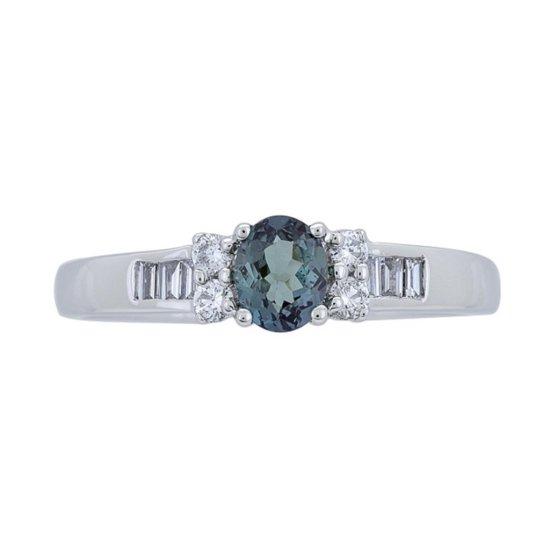 0.47 ctw Alexandrite and Diamond Ring - 18KT White Gold