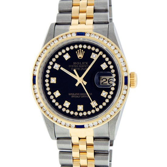 Rolex Two Tone VVS Diamond and Sapphire DateJust Men's Watch