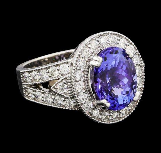 5.46 ctw Tanzanite and Diamond Ring - 14KT White Gold