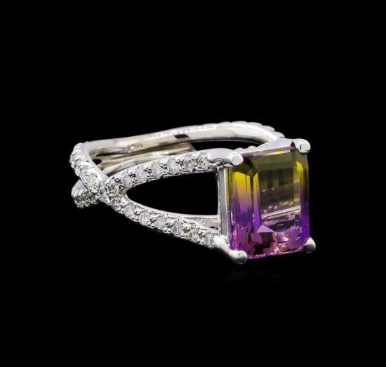 2.70 ctw Ametrine and Diamond Ring - 14KT White Gold