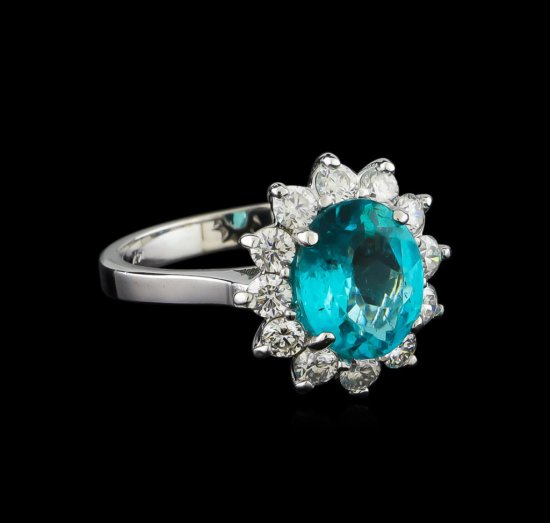 2.78 ctw Apatite and Diamond Ring - 14KT White Gold