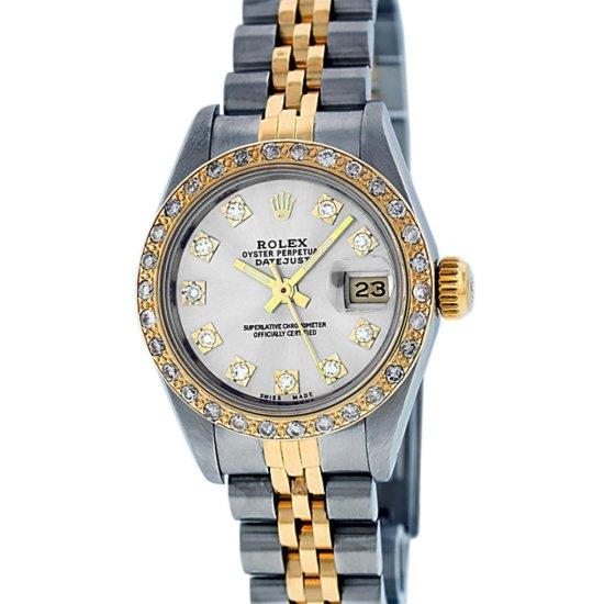 Rolex Ladies Two Tone Silver VS Diamond Datejust Wristwatch