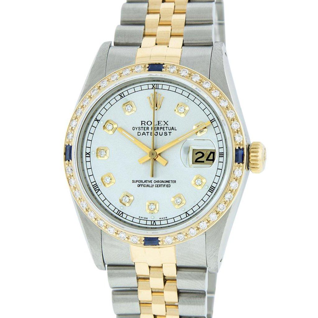 Rolex Two Tone Sapphire and Diamond DateJust Men's Watch