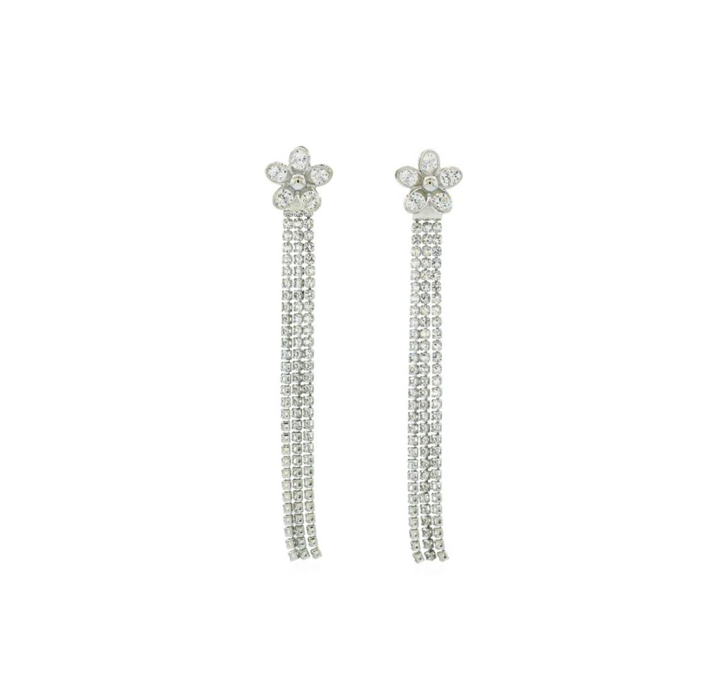 Line Chain Drop Flower Post Earrings - Rhodium Plated