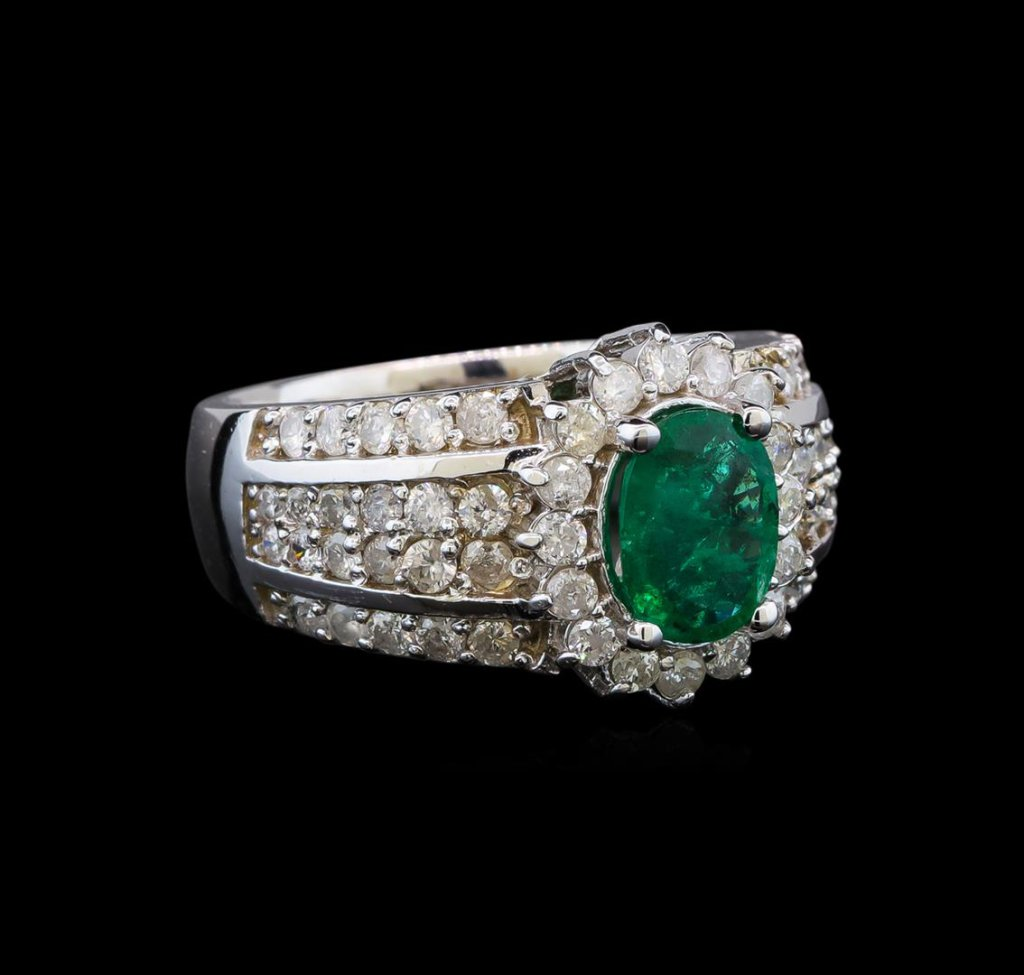 14KT White Gold 1.41 ctw Emerald and Diamond Ring
