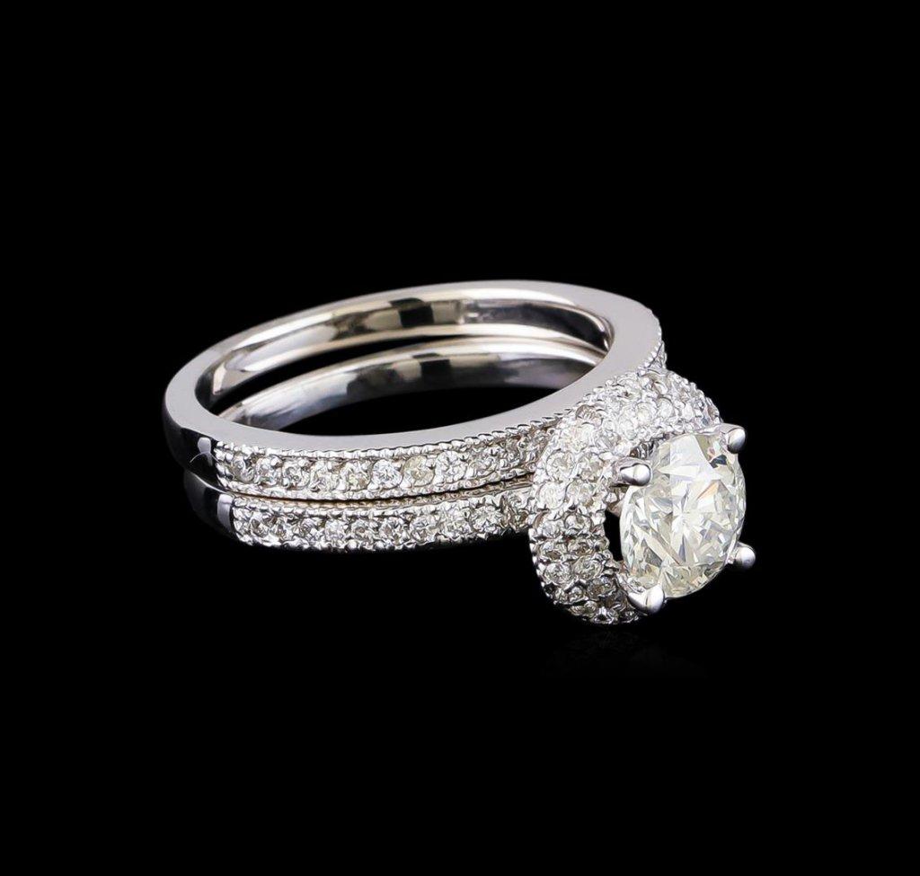 1.80 ctw Diamond Wedding Ring Set - 14KT White Gold