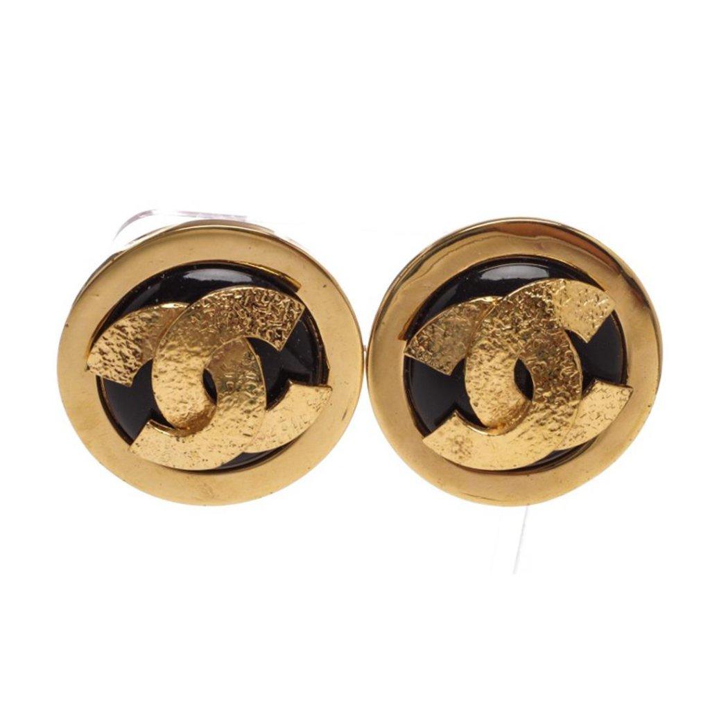 Chanel Black Gold CC Logo Clip On Disc Earrings