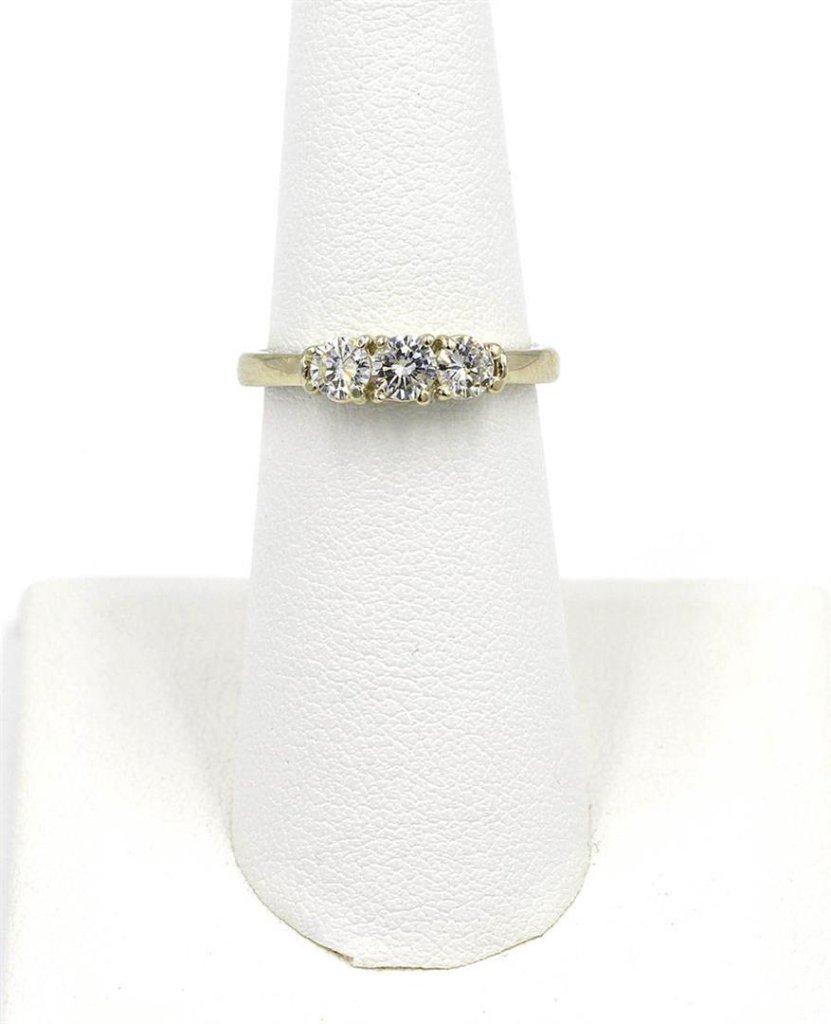 0.66 ctw Diamond Three Stone Ring - 14KT White Gold