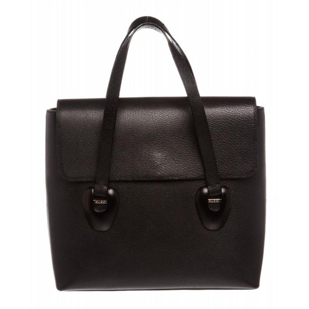 Gucci Black Leather Flap Tote Handbag