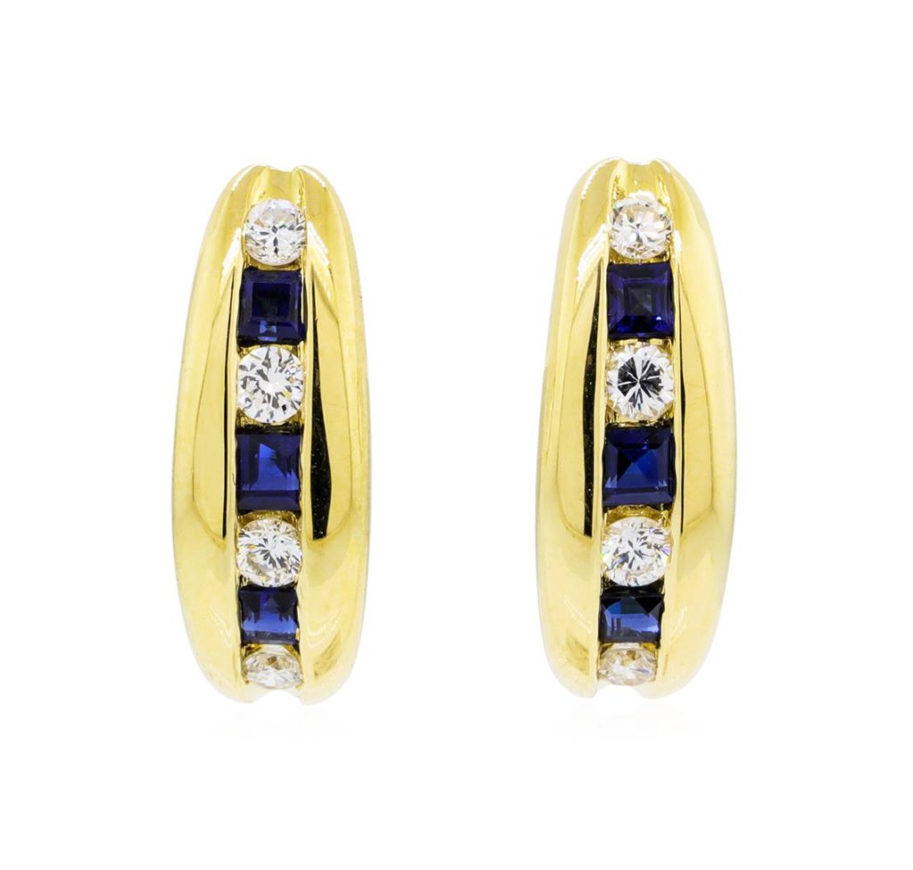 0.30 ctw Sapphire and Diamond Earrings - 18KT Yellow Gold