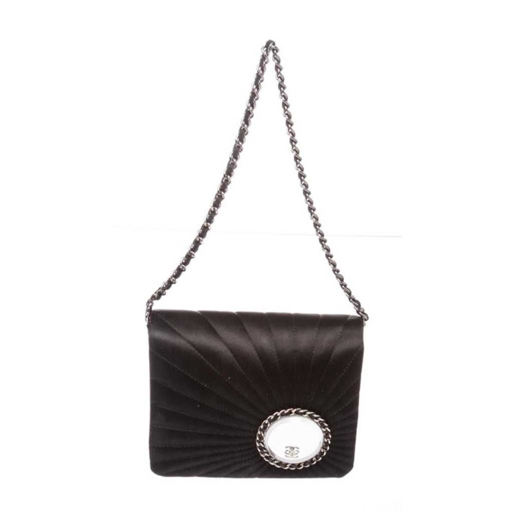Chanel Black Satin Vanity Evening Quilted Flap Bag