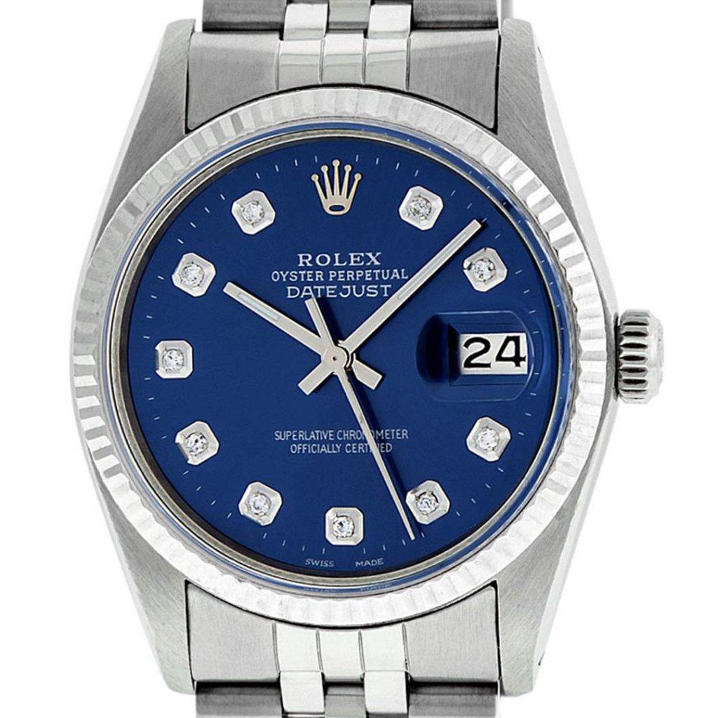 Rolex Mens 36mm Stainless Steel Blue Diamond Datejust Wristwatch