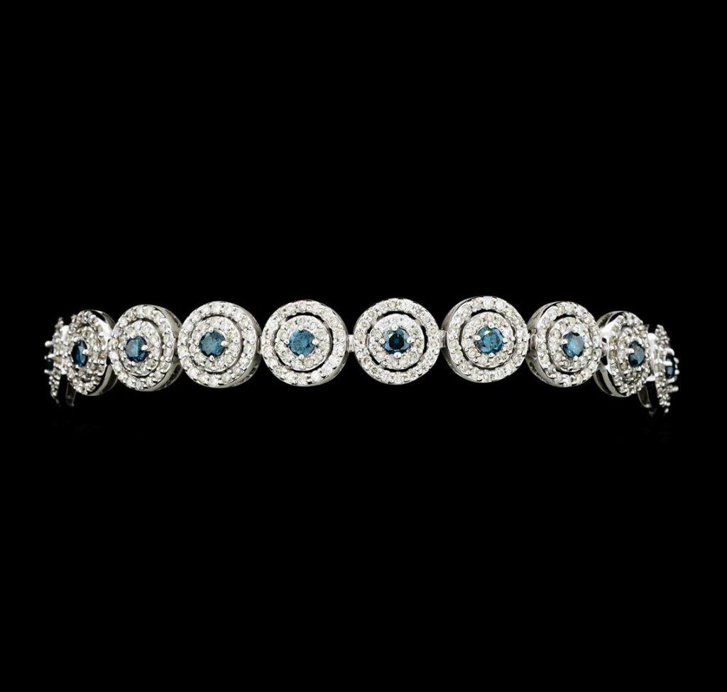 4.58 ctw Blue and White Diamond Bracelet - 14KT White Gold