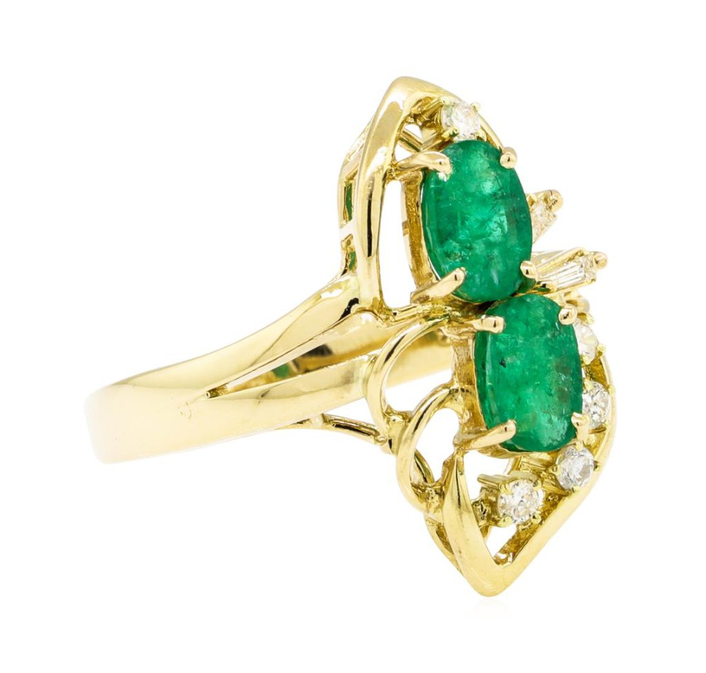 0.90 ctw Emerald And Diamond Ring - 14KT Yellow Gold