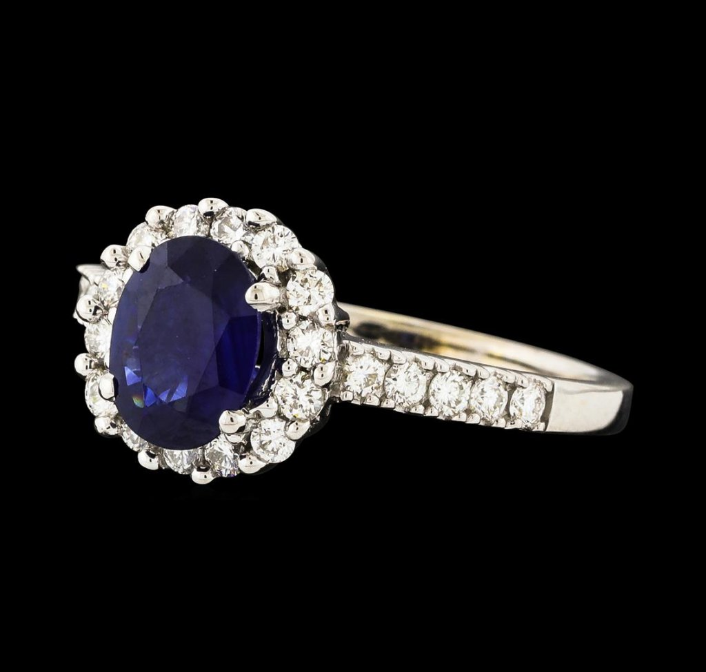 1.29 ctw Sapphire and Diamond Ring - 18KT White Gold