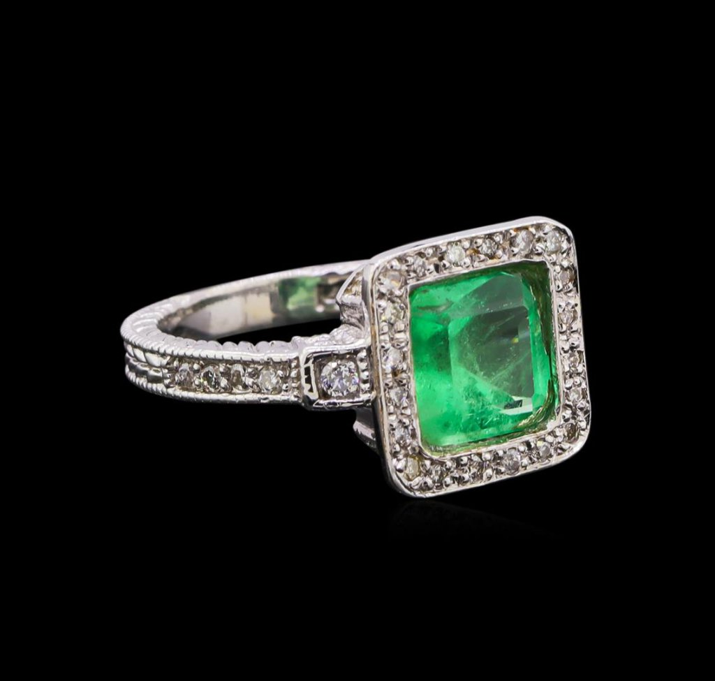 2.54 ctw Emerald and Diamond Ring - 14KT White Gold