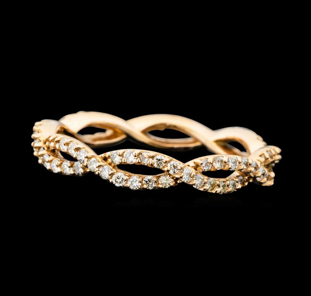 0.59 ctw Diamond Braided Eternity Band - 14KT Rose Gold