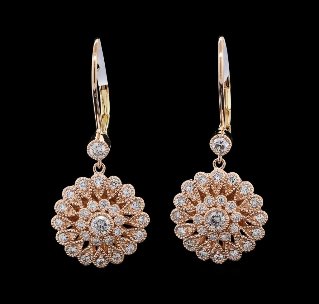 0.97 ctw Diamond Earrings - 14KT Yellow, White, and Rose Gold