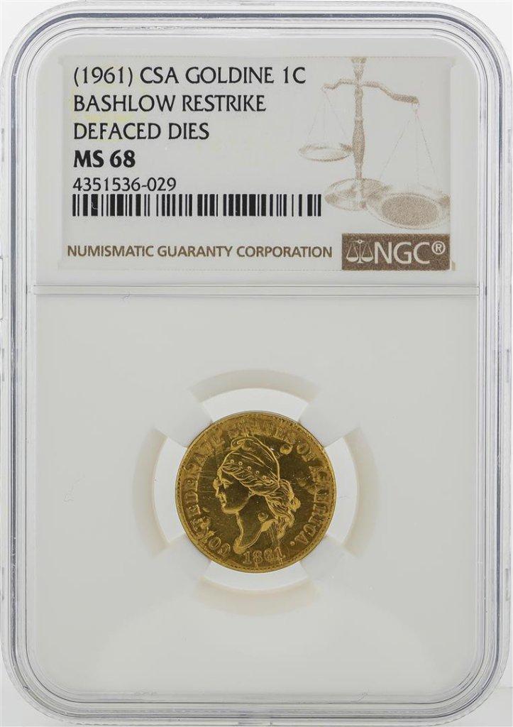 1961 CSA 1 Cent Goldine Coin Bashlow Restrike NGC MS68