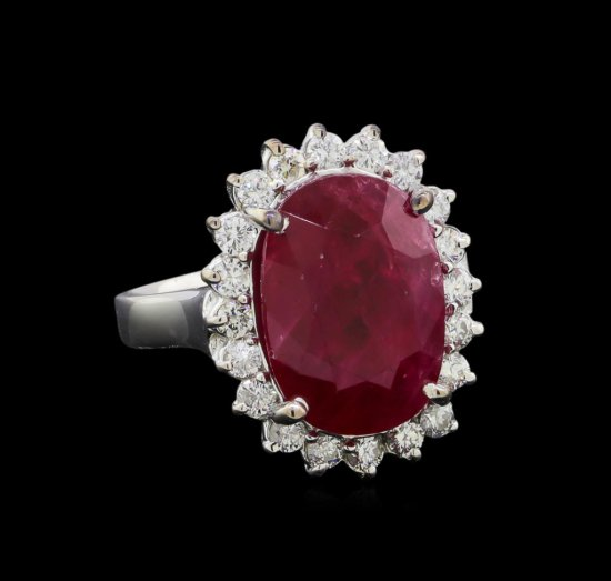 GIA Cert 9.95 ctw Ruby and Diamond Ring - 14KT White Gold