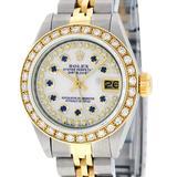 Rolex Ladies 2 Tone 14K MOP Sapphire String Diamond Datejust Wristwatch