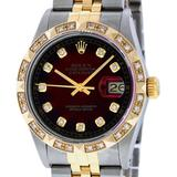 Rolex Mens 2 Tone 14K Red Vignette Pyramid Diamond 36MM Datejust Wristwatch