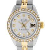 Rolex Ladies 2 Tone 14K Silver Diamond Datejust Wristwatch